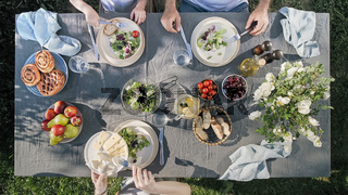 Family dinner outdoors, top view, staycation