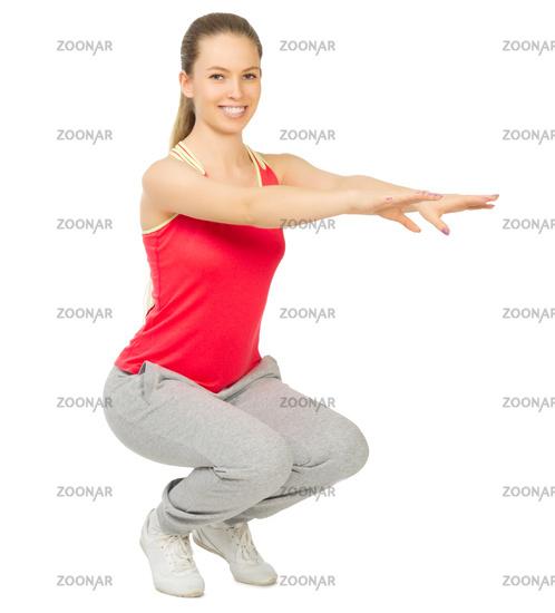 Sporty girl doing gymnastic exercises isolated