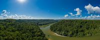 Panoramic Isar river in the south of Munich, Germany