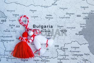 Bulgarian Martenitsa and map of Bulgaria