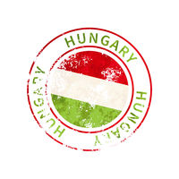 Hungary sign, vintage grunge imprint with flag on white