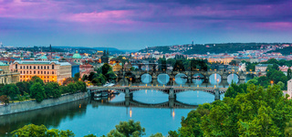 Bridges over the River Vltava in Prague