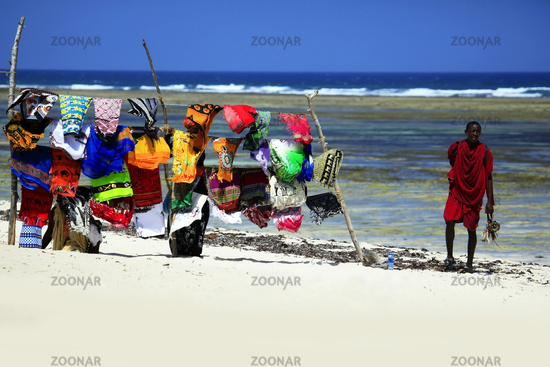 Brightly coloured beach towels displayed in the tourist popular resort on the coast Tiwi Beach in Kenia