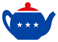 Flat Raster Teapot Icon in American Democratic Colors with Stars