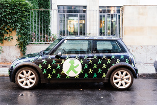 Mini vehicle with Ampelmannchen symbols in Berlin