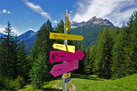 hikin signs in the lechtal alps, austria, tyrol
