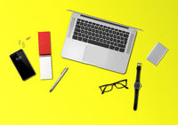 Office desk mockup top view isolated on yellow