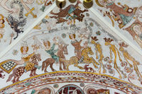 Three brave kings on horses meet the death. Wall-painting in Skibby church, demnark