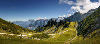 Panorama of a mountain landscape in sunny weather