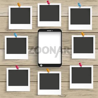 Wood Smartphone 8 Photo Frames