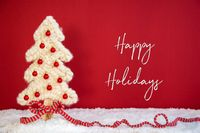 Fabric Christmas Tree, Ball, Snow, Happy Holidays, Red Background