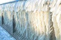 huge icicles, icing on the sea pier