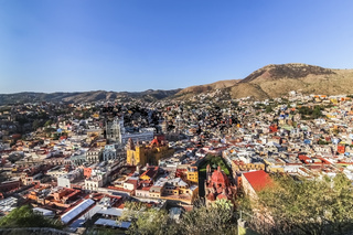 Aerial view of the city of Guanajuato in Mexico