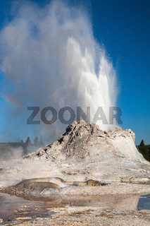 Irregular eruption in Castle Geyser in Yellowstone