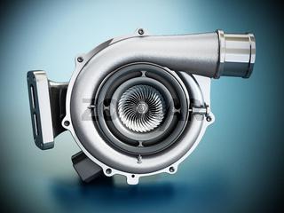 Generic turbo isolated on blue background. 3D illustration
