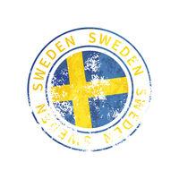 Sweden sign, vintage grunge imprint with flag on white