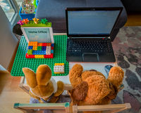 View from the top at a cute homeoffice scene with a stuffed teddy bear and his friend a rabbit working at a laptop.