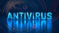 Antivirus text about Coronavirus COVID-19. Made by blue glowing glass over background full of moving shapes and structures. Medicine concept 3d illustration