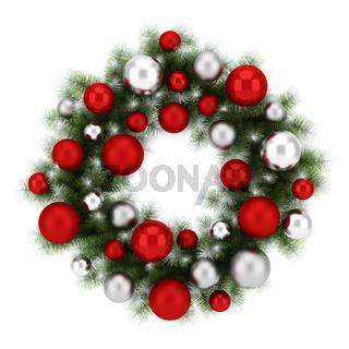 ornate christmas wreath isolated on white background