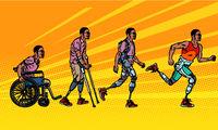 Evolution of rehabilitation. african man leg prosthesis