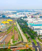 Aerial Singapore, railroad, industrial, road