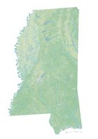 High resolution topographic map of Mississippi