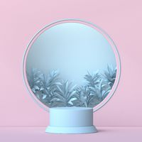 Mock up podium for product presentation circle frame with plant leaf 3D