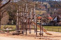 Schliersee, Germany, Bavaria 27.03.2020: Playground closed due to coronavirus