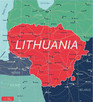 Lithuania country detailed editable map