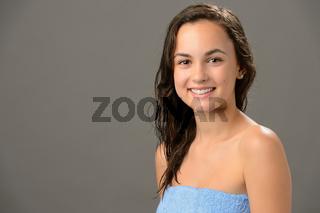 Teenage girl wet hair after shower portrait