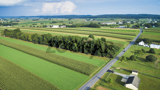 Aerial View of Beautiful Farm Lands and Countryside