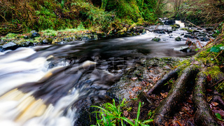 Waterfall Trail at Glenariff Forest Park, County Antrim. Hiking in Northern Ireland
