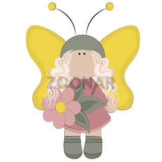 Fairy with yellow wings in a pink dress with a flower in her hand
