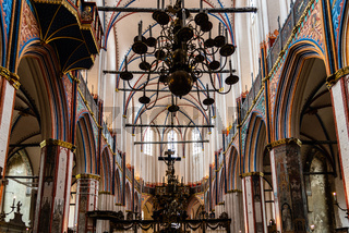 Interior view of the nave of St. Nicholas Church in Stralsund