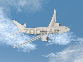 Airplane flying in the sky - 3D render