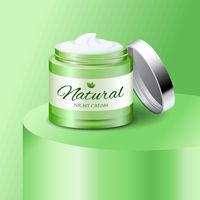 Natural cream plastic jar, skin care product, cosmetics packaging mockup, vector illustration.