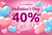 Valentines day shopping sale invitation poster, advertising banner with pink hearts on blue background, vector illustration.