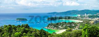 Tropical ocean andscape panorama. Kata and Karon beach, Phuket, Thailand