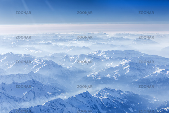 The Bavarian Alps seen from the air