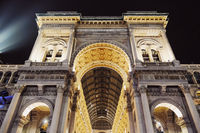 Galleria Vittorio Emanuele in Milan, classic European architecture of Lombardy region in Northern Italy, historical building and famous landmark at night
