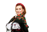 Portrait of adult woman in traditional ukrainian style