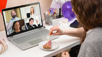 Woman celebrating birthday from home