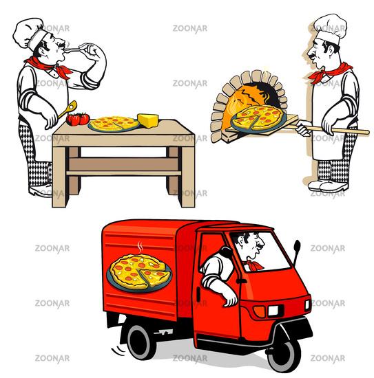 Pizza Chef - Pizza Delivery,  Illustration