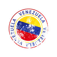Venezuela sign, vintage grunge imprint with flag on white