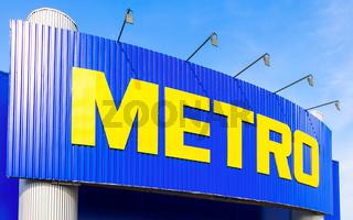 METRO logo on the facade of a supermarket