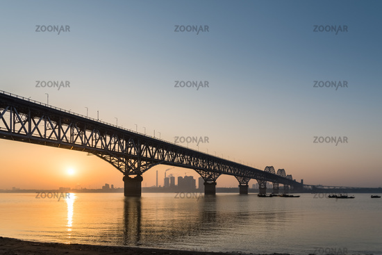 jiujiang yangtze river bridge in sunrise