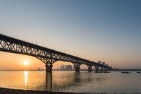 jiujiang yangtze river bridge in sunrise