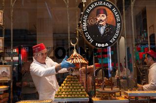 Hafiz Mustafa baklava sweet shop along Istiklal Street, Istanbul, Turkey
