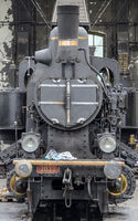 front view of a restored steam locomotive