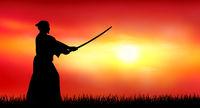 Japanese warrior samurai with a sword at sunset
